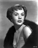 Piper Laurie Posed in Classic Portrait wearing Dress with Black Fur Scarf