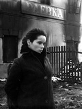 Geraldine Chaplin wearing Black Fur Coat Side View Angle