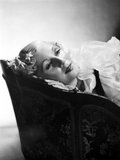 Lilyan Tashman Lying on Couch in Black and White Portrait