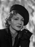 Claudette Colbert Posed in Black Suit with Head Leaning on Hand