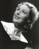 Loretta Young posed with Smile and Vintage Black  White Dress