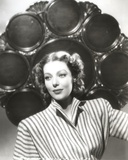 Loretta Young Lady Stripe with Black Circle Frame Background