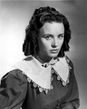 Jessica Tandy Portrait in Grey Blouse with White Broad Collar
