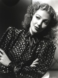 Loretta Young Curly Blonde Hair Side Pose Turtleneck Office Dress