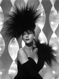 Maria Montez Posed in Black Strapless Dress with Black Feather Headdress