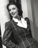 Loretta Young Lady Office Wear Black Striped Jacket Shirt Suits