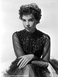 Leslie Caron Portrait in Black Gown with White Background