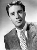 Peter Lawford smiling in Formal Suit Black and White Portrait