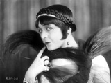 Pola Negri Posed wearing Black Feather Scarf with Hairband