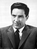 John Cassavetes Posed in Black Suit With Black and White Background