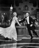 Fred Astaire and Ginger Rogers Dancing in Suit and Dress  smiling