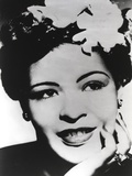 Billie Holiday smiling with Flower on Hair Black and White Portrait