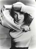Janet Leigh Portrait in White Long Sleeve Cotton Sweater and Wrist Watch
