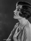 Claudette Colbert Posed Side View in White Shirt with Necklace