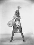 Mamie Van Doren Posed in Glossy Sexy Dress with Legs wide Open