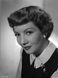 Claudette Colbert Posed in Black Blazer with White Long Sleeve
