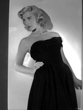 Lizabeth Scott Posed in Black Long Gown with Pearl Necklace