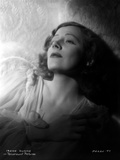 Irene Dunne on a See Through Dress Hands on Chest Portrait