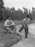 Dean Martin and Jerry Lewis Playing Golf in Classic Portrait