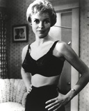 Janet Leigh Posed in Black Linen Lingerie with Hands on the Waist