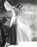 Loretta Young White Long Dress Sleeves in a Dead Tree