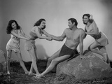 Johnny Weissmuller Grabbed by a Woman in Black and White