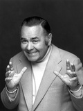Jonathan Winters Posed in White Suit With Black Background