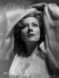 Irene Dunne on White Lace Shawl and White Dress Portrait