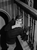 Psycho Cast Member Covering His Mouth in Black and White Portrait