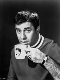 Dean Martin and Jerry Lewis Drinking in a White Mug in Black and White