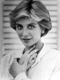 Helen Slater Portrait Hand on Neck in White Long Sleeve Polo