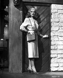 Lizabeth Scott Posed in Classic with Heels and Shoulder Bag