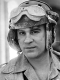 Dan Aykroyd Close Up Portrait wearing Helmet in Black and White