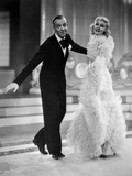 Fred Astaire and Ginger Rogers in Black Tuxedo and Furry Dress