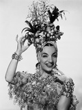 Carmen Miranda with Fruits and Leaves as Head Dress