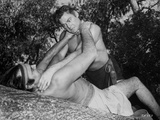 Johnny Weissmuller Choking a Man in a Movie Scene