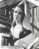 Julie Newmar Leaning on Stairs in Lingerie Black and White
