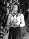Maureen O'Sullivan on an Embroidered Dress smiling