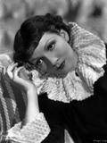 Claudette Colbert Looking Away in Black Dress Portrait