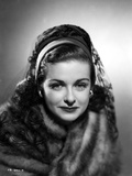 Joan Bennett on a Lace Netted Veil and Slightly smiling