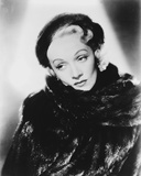 Marlene Dietrich Posed in Fur Dress with Earrings