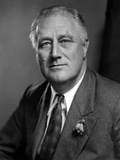 Franklin Roosevelt with Expressionless Face in Suit