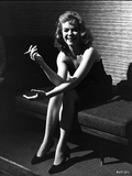 Anne Francis Smoking Cigarette in Black and White Portrait