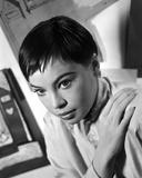 Leslie Caron Portrait Looking Sideways in Black and White