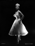 Gloria DeHaven posed in White Gown in Black and White