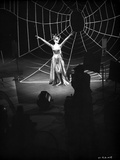 Anne Francis on Big Cobweb in Black and White Portrait
