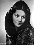 Margaret Lockwood Looking Away in Floral Dress with Veil
