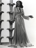 Loretta Young Lady posed Long Sleeved White Dress