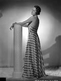 Mary Astor on a Stripe Dress Backless posed Portrait