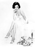 Natalie Wood Seated in White Dress and Stuffed Tiger
